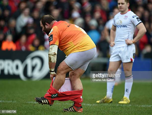 Peter Edwards of Scarlets is forced to change his shorts during the Guinness PRO12 game between Ulster and Scarlets at Kingspan Stadium on February...