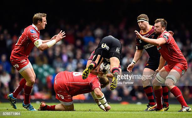 Peter Edwards of the Scarlets is yellow carded for the tackle on Carl Meyer of Newport during the Guinness Pro 12 match between Newport Gwent Dragons...