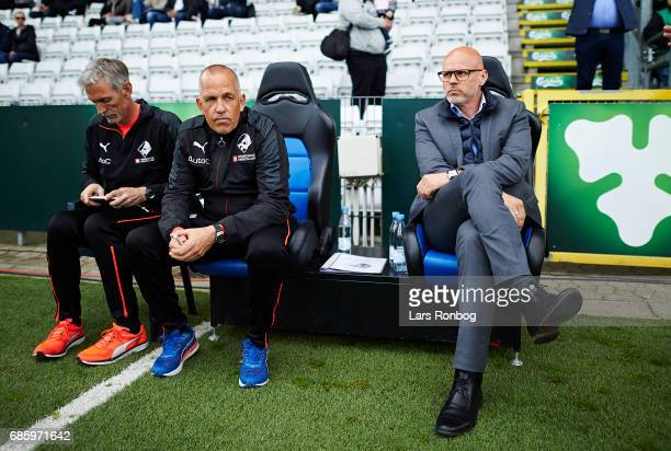Peter Enevoldsen assistant coach of Randers FC and Olafur Kristjansson head coach of Randers FC on the bench prior to the Danish Alka Superliga match...