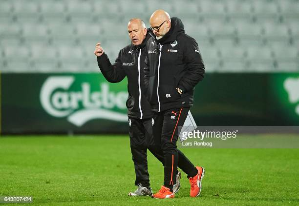 Peter Enevoldsen assistant coach of Randers FC speaks to Olafur Kristjansson head coach of Randers FC after the Danish Alka Superliga match between...