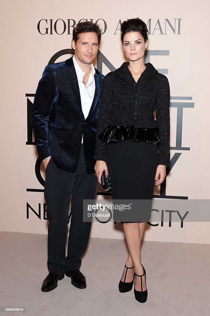 Peter Facinelli (L) and Jaimie Alexander attend Armani - One Night Only New York at SuperPier on October 24, 2013 in New York City.