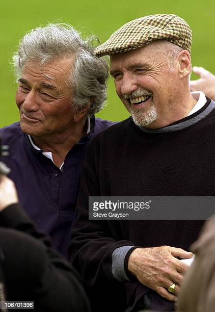 Peter Falk Dennis Hopper during 3rd Annual Academy of Television Arts Sciences Foundation Celebrity Golf Classic at Rivera Country Club in Los...