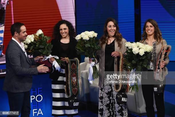 Peter Fill Federica Brignone Sofia Goggia and Marta Bassino attend 'Che Tempo Che Fa' tv show on March 26 2017 in Milan Italy