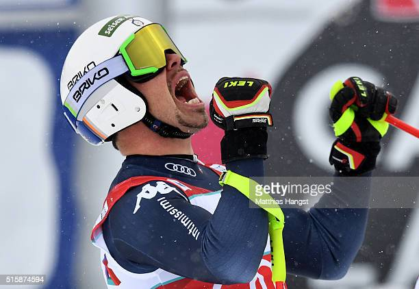Peter Fill of Italy celebrates after winning the Men's World Cup Downhill Crystal Globe trophy after the Audi FIS Alpine Skiing World Cup Men's...