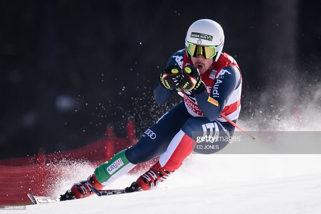 Peter Fill of Italy competes in the 8th Men's Downhill event of the FIS Alpine Ski World Cup in Jeongseon county, some 150km east of Seoul on February 6, 2016. The FIS Ski Men's World Cup runs from February 6-7 and is the first official test event for the Pyeongchang 2018 Winter Olympics. AFP PHOTO / Ed Jones / AFP / ED