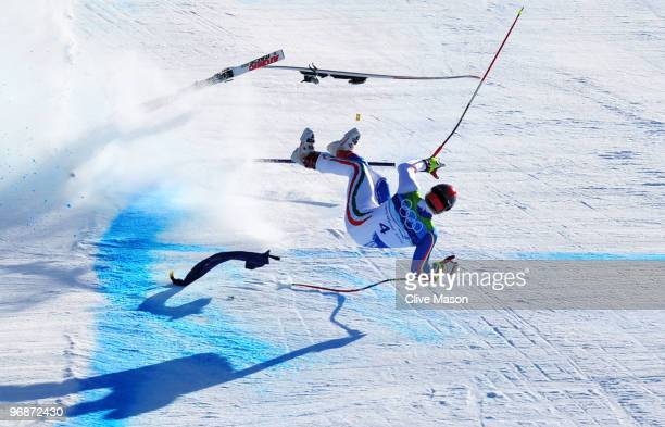 Peter Fill of Italy crashes at the last gate in the men's alpine skiing SuperG on day 8 of the Vancouver 2010 Winter Olympics at Whistler Creekside...