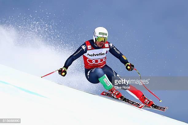 Peter Fill of Italy in action during the Audi FIS Alpine Skiing World Cup downhill training on March 15 2016 in St Moritz Switzerland