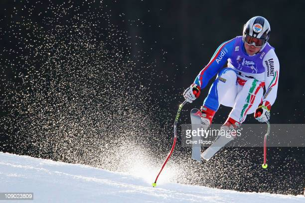 Peter Fill of Italy skis in the Men's Downhill during the Alpine FIS Ski World Championships on the Kandahar course on February 12 2011 in...
