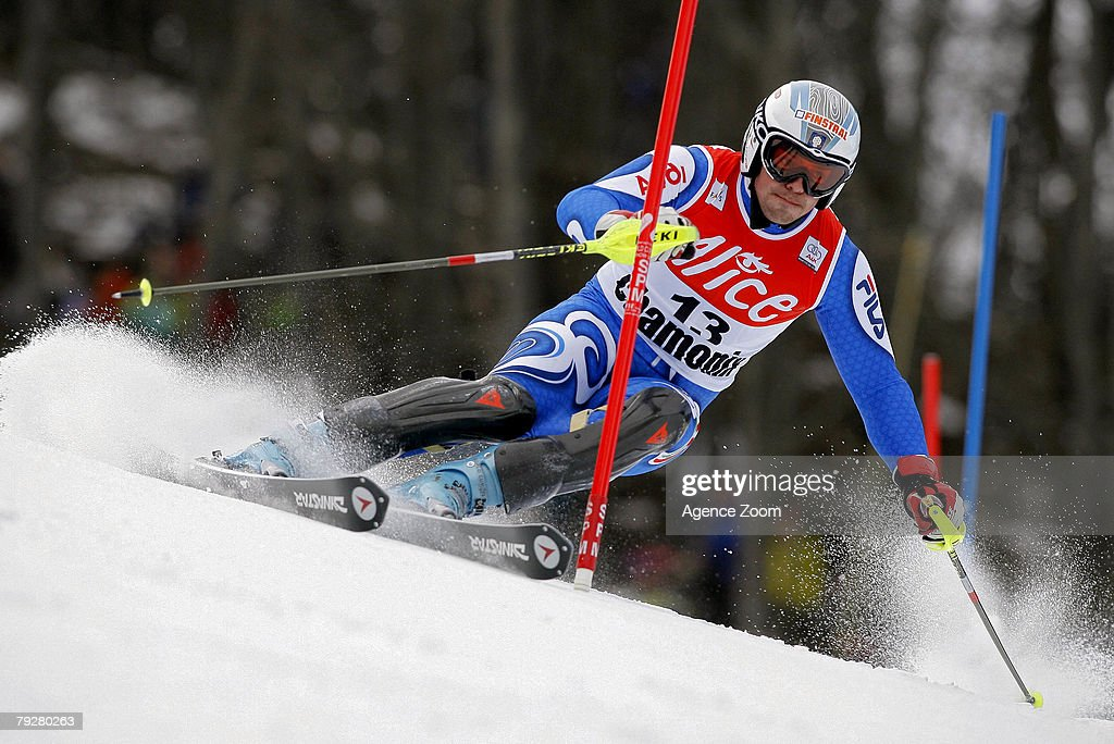 Peter Fill of Italy takes 4th place during the FIS Alpine ski World cup World Cup Men's Super Combined Downhill event on January 27, 2008 in Chamonix, France.