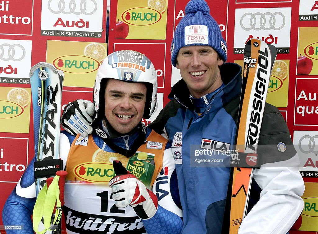 . Peter Fill of Italy takes 7th place,Werner Heel of Italy takes 3rd place during the Alpine FIS Ski World Cup. Men's Downhill on March 01, 2008 in Kvitfjell, Norway.