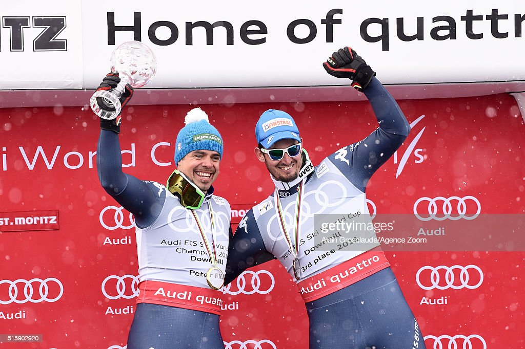 <a gi-track='captionPersonalityLinkClicked' href=/galleries/search?phrase=Peter+Fill&family=editorial&specificpeople=4051841 ng-click='$event.stopPropagation()'>Peter Fill</a> of Italy wins the downhill crystal globe, <a gi-track='captionPersonalityLinkClicked' href=/galleries/search?phrase=Dominik+Paris&family=editorial&specificpeople=5663630 ng-click='$event.stopPropagation()'>Dominik Paris</a> of Italy takes 3rd place in the overall downhill standings during the Audi FIS Alpine Ski World Cup Finals Men's and Women's Downhill on March 16, 2016 in St. Moritz, Switzerland.