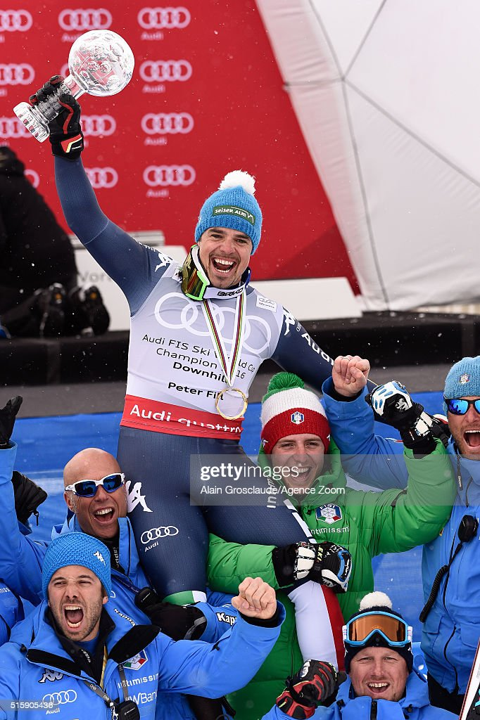 Peter Fill of Italy wins the downhill crystal globe during the Audi FIS Alpine Ski World Cup Finals Men's and Women's Downhill on March 16, 2016 in St. Moritz, Switzerland.