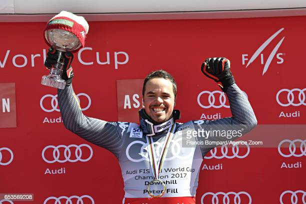 Peter Fill of Italy wins the globe in the overall standings during the Audi FIS Alpine Ski World Cup Finals Women's and Men's Downhill on March 15...