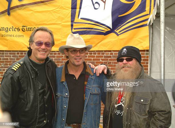 Peter Fonda and Dusty Hill of ZZ Top during The 20th Love Ride For MDA at Glendale Harley Davidson in Glendale California United States