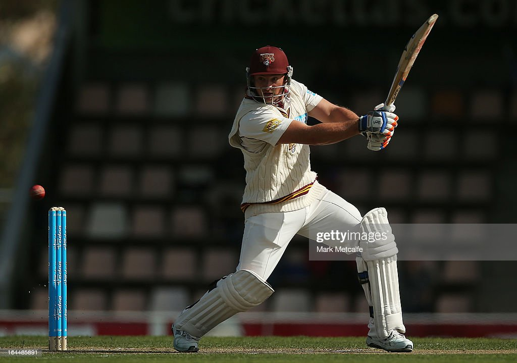 Peter Forrest of the Bulls bats during day three of the Sheffield Shield final between the Tasmania Tigers and the Queensland Bulls at Blundstone Arena on March 24, 2013 in Hobart, Australia.