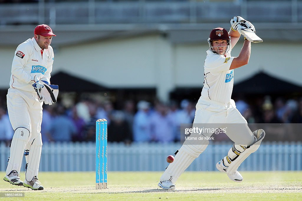 Peter Forrest of the Bulls bats during day three of the Sheffield Shield match between the South Australia Redbacks and the Queensland Bulls at Glenelg Oval on November 1, 2013 in Adelaide, Australia.