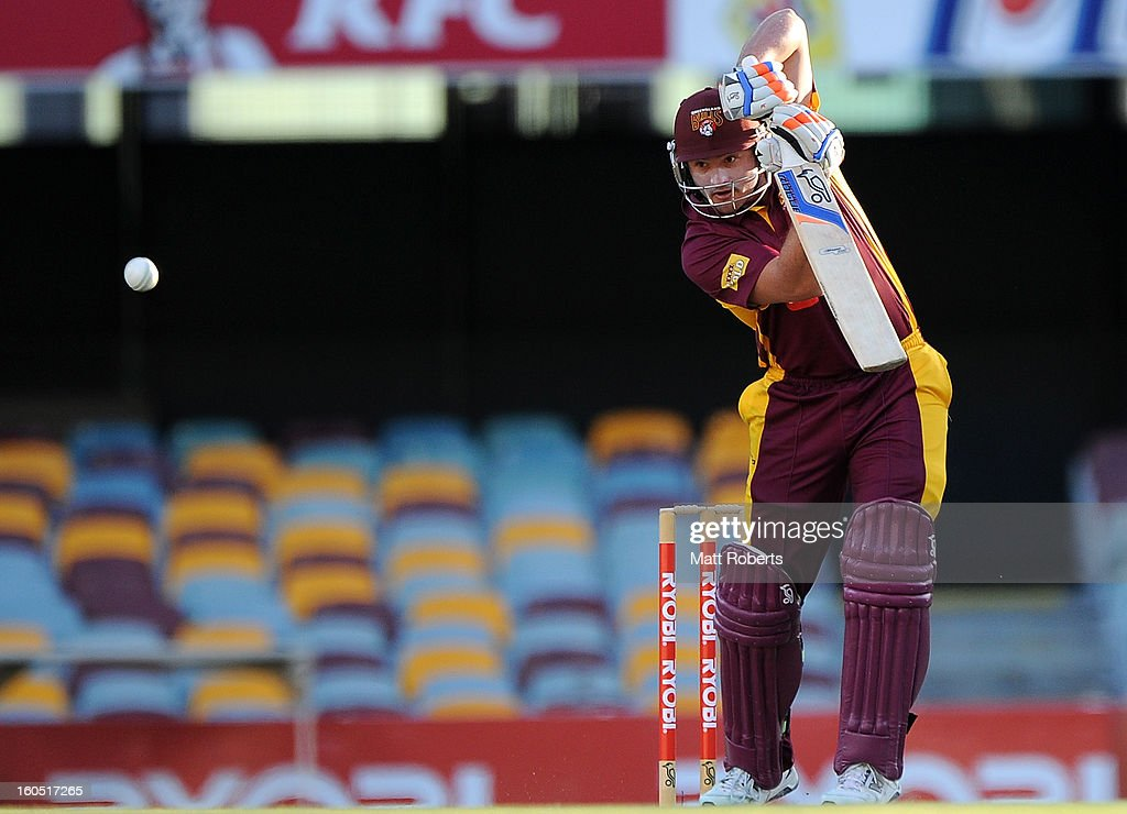 Peter Forrest of the Bulls bats during the Ryobi One Day Cup match between the Queensland Bulls and the Western Australia Warriors at The Gabba on February 2, 2013 in Brisbane, Australia.