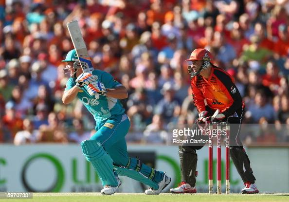 Peter Forrest of the Heat bats during the Big Bash League final match between the Perth Scorchers and the Brisbane Heat at WACA on January 19 2013 in...