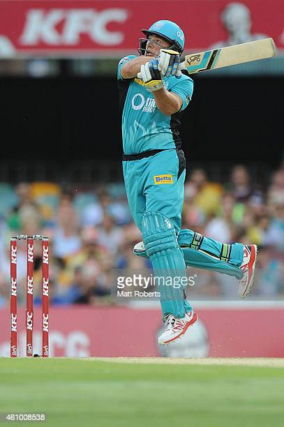 Peter Forrest of the Heat bats during the Big Bash league match between the Brisbane Heat and the Adelaide Strikers at The Gabba on January 4 2015 in...