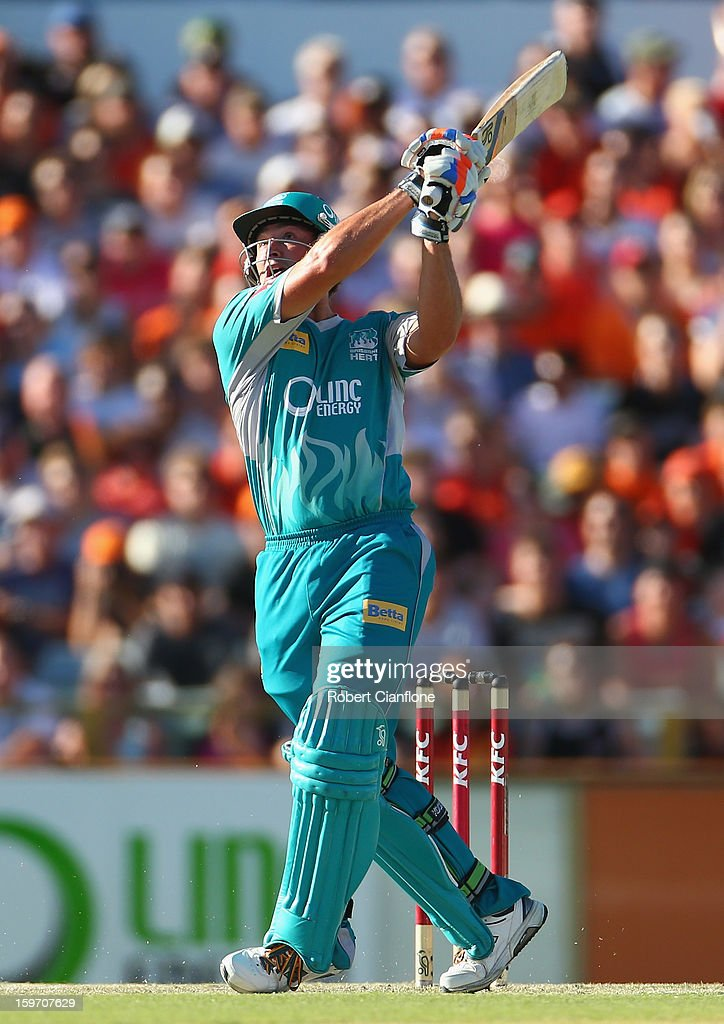 Peter Forrest of the Heat hits out during the Big Bash League final match between the Perth Scorchers and the Brisbane Heat at WACA on January 19, 2013 in Perth, Australia.