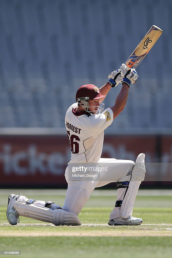 Peter Forrest of the the Queensland Bulls hits the ball during day one of the Sheffield Shield match between the Victorian Bushrangers and the Queensland Bulls at Melbourne Cricket Ground on February 18, 2013 in Melbourne, Australia.