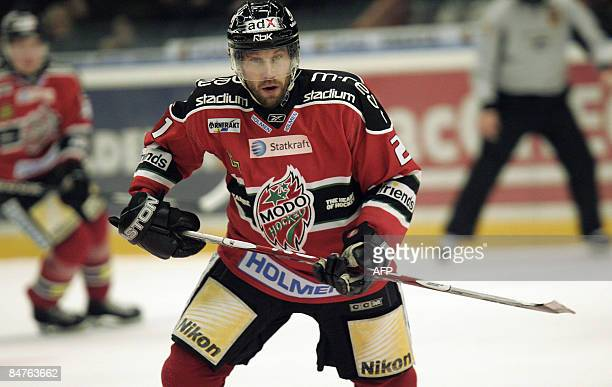 Peter Forsberg in action in his first match with ice hockey club MoDO in the Swedish pro league 'Elitserien' in the Swedbank arena in Ornskoldsvik...