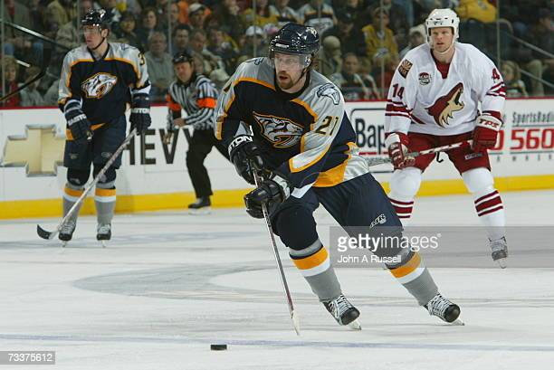 Peter Forsberg of the Nashville Predators skates against the Phoenix Coyotes at Gaylord Entertainment Center on February 19 2007 in Nashville...