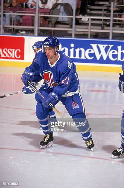 Peter Forsberg of the Quebec Nordiques skates during a game in the 199495 NHL season