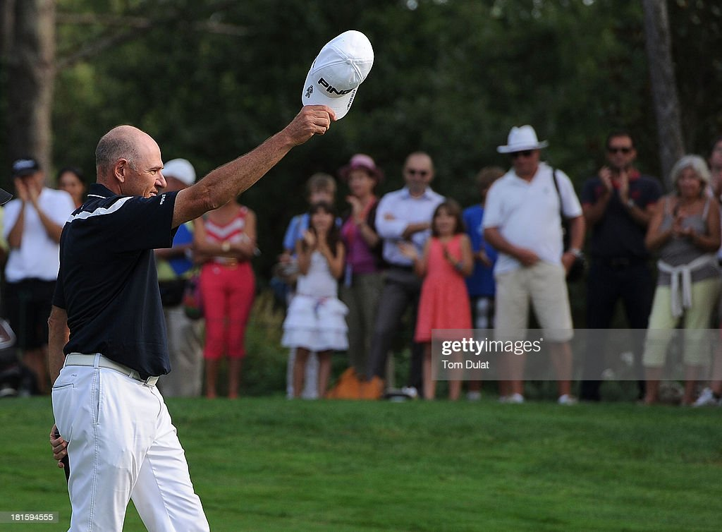<a gi-track='captionPersonalityLinkClicked' href=/galleries/search?phrase=Peter+Fowler+-+Golfer&family=editorial&specificpeople=14698628 ng-click='$event.stopPropagation()'>Peter Fowler</a> of Australia celebrates winning the French Riviera Masters played over the Chateau Course, Terre Blanche Resort on September 22, 2013 in Provencheres-sur-Fave, France.