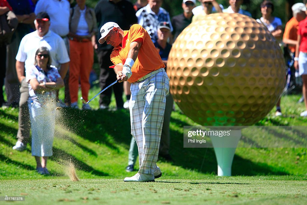 <a gi-track='captionPersonalityLinkClicked' href=/galleries/search?phrase=Peter+Fowler+-+Golfer&family=editorial&specificpeople=14698628 ng-click='$event.stopPropagation()'>Peter Fowler</a> of Australia in action during the final round of the Bad Ragaz PGA Seniors Open played at Golf Club Bad Ragaz on July 6, 2014 in Bad Ragaz, Switzerland.