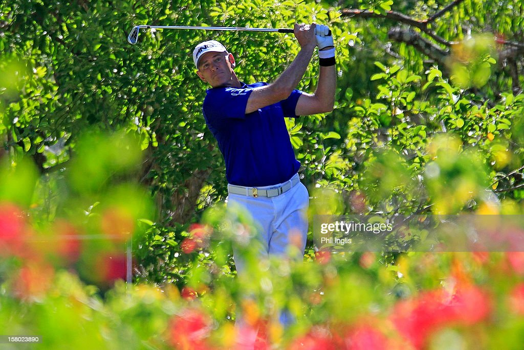 <a gi-track='captionPersonalityLinkClicked' href=/galleries/search?phrase=Peter+Fowler+-+Golfer&family=editorial&specificpeople=14698628 ng-click='$event.stopPropagation()'>Peter Fowler</a> of Australia in action during the final round of the MCB Tour Championship played at the Legends Course, Constance Belle Mare Plage on December 9, 2012 in Poste de Flacq, Mauritius.