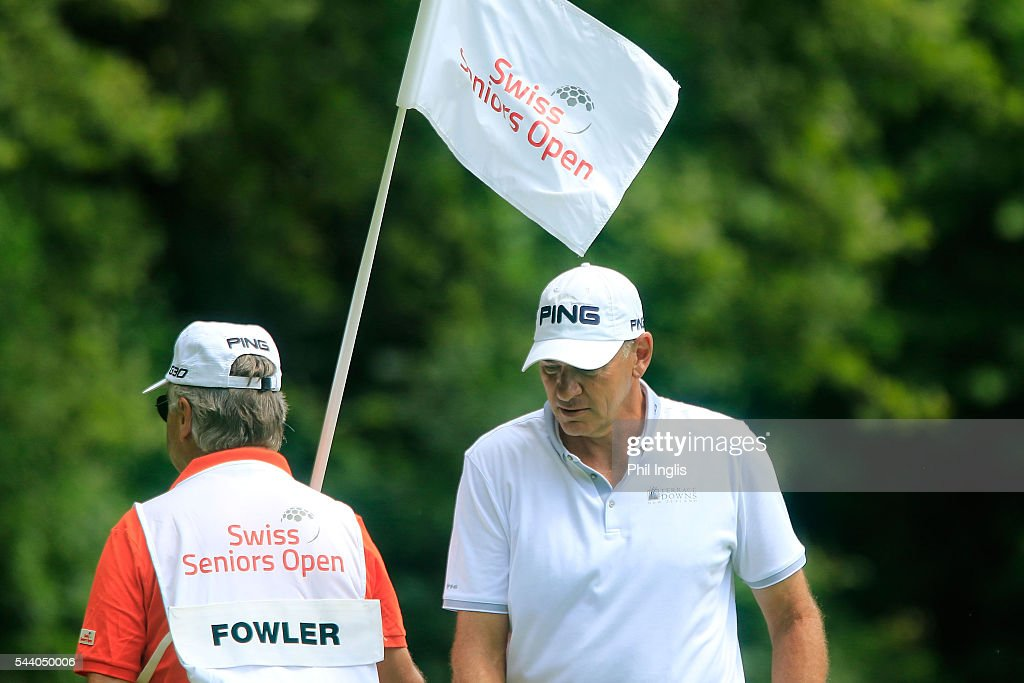 <a gi-track='captionPersonalityLinkClicked' href=/galleries/search?phrase=Peter+Fowler+-+Golfer&family=editorial&specificpeople=14698628 ng-click='$event.stopPropagation()'>Peter Fowler</a> of Australia in action during the the first round of the Swiss Seniors Open played at Golf Club Bad Ragaz on July 1, 2016 in Bad Ragaz, Switzerland.