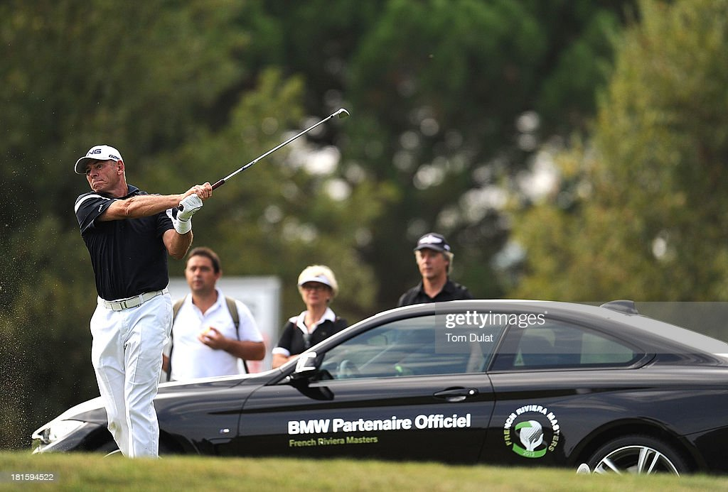 <a gi-track='captionPersonalityLinkClicked' href=/galleries/search?phrase=Peter+Fowler+-+Golfer&family=editorial&specificpeople=14698628 ng-click='$event.stopPropagation()'>Peter Fowler</a> of Australia tees off during the final round of the French Riviera Masters played over the Chateau Course, Terre Blanche Resort on September 22, 2013 in Provencheres-sur-Fave, France.