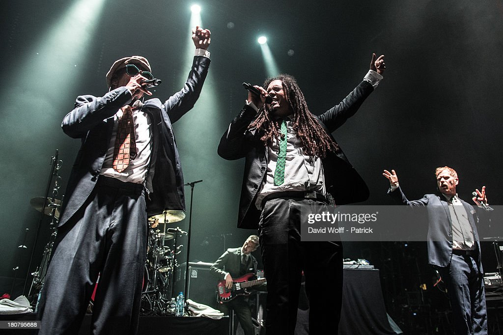 Peter Fox, Demba Nabe and Franck A Delle from Seeed open for Madness at L'Olympia on September 16, 2013 in Paris, France.