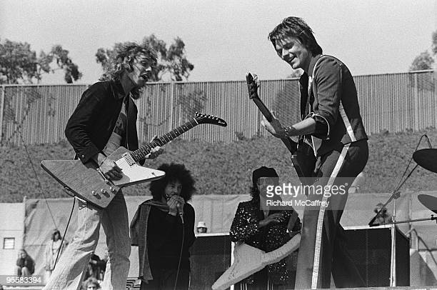 Peter Frampton with Richard 'Magic Dick' Salwitz Peter Wolf and J Geils of The J Geils Band perform live at The Oakland Coliseum in 1976 in Oakland...