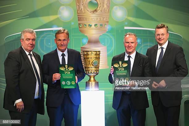 Peter Frymuth VicePresident of DFB KarlHeinz Rummenigge CEO of FC Bayern Muenchen Hans Joachim Watzke CEO of Borussia Dortmund and Reinhard Grindel...