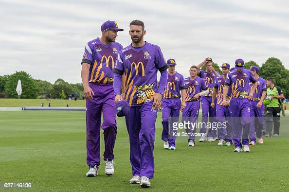 Peter Fulton and Andrew Ellis of the Kings look on during the T20 practice match between Canterbury Kings and Sydney Thunder at Hagley Oval on...