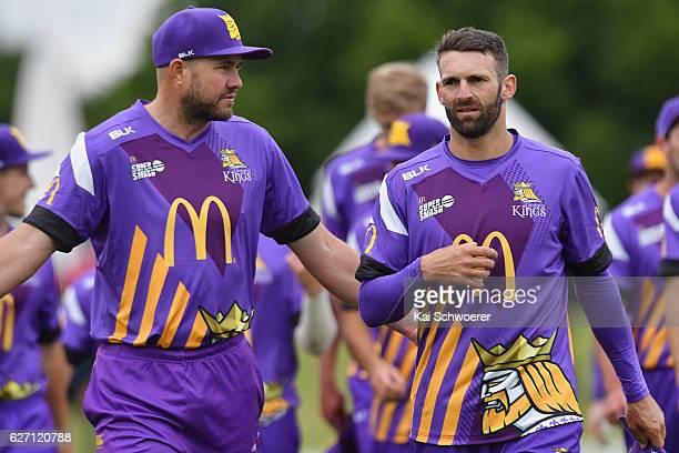 Peter Fulton and Andrew Ellis of the Kings reacting following the T20 practice match between Canterbury Kings and Sydney Thunder at Hagley Oval on...