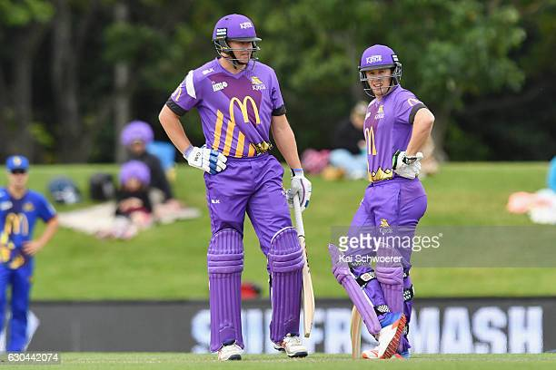 Peter Fulton and Henry Nicholls of the Kings look on during the McDonalds Super Smash T20 match between Canterbury Kings and Otago Volts at Hagley...
