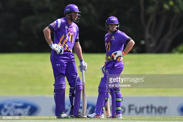 Peter Fulton and Tom Latham of the Kings look on during the McDonalds Super Smash T20 match between the Canterbury Kings and Wellington Firebirds at...