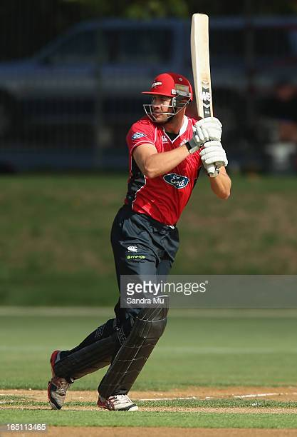 Peter Fulton of Canterbury bats during the Ford Trophy Final match between Auckland and Canterbury at Eden Park on March 31 2013 in Auckland New...