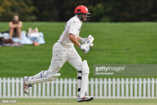 Peter Fulton of Canterbury makes a run during the Plunket Shield match between Canterbury and Wellington on March 29 2017 in Christchurch New Zealand