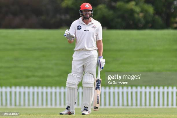 Peter Fulton of Canterbury reacting during the Plunket Shield match between Canterbury and Wellington on March 29 2017 in Christchurch New Zealand