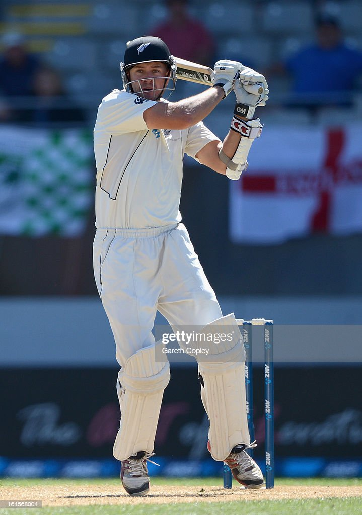 <a gi-track='captionPersonalityLinkClicked' href=/galleries/search?phrase=Peter+Fulton&family=editorial&specificpeople=658568 ng-click='$event.stopPropagation()'>Peter Fulton</a> of New Zealand bats during day four of the Third Test match between New Zealand and England at Eden Park on March 25, 2013 in Auckland, New Zealand.