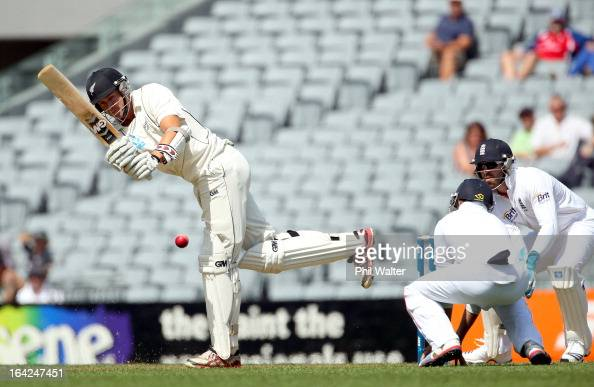 Peter Fulton of New Zealand bats during day one of the Third Test match between New Zealand and England at Eden Park on March 22 2013 in Auckland New...