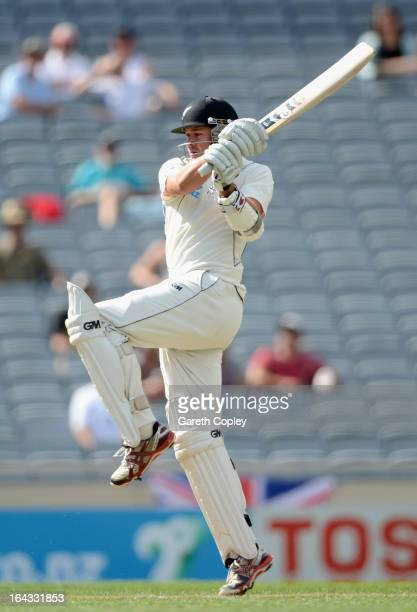 Peter Fulton of New Zealand bats during day two of the Third Test match between New Zealand and England at Eden Park on March 23 2013 in Auckland New...