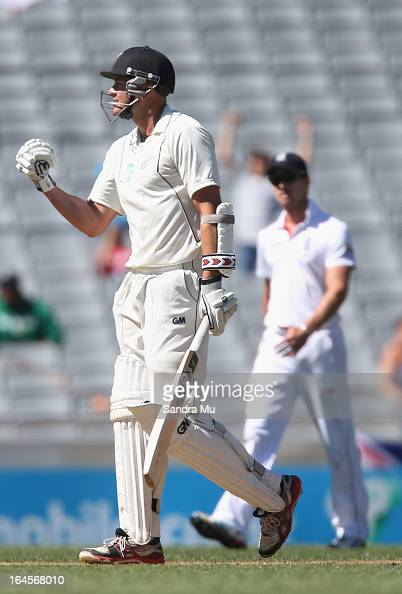 Peter Fulton of New Zealand celebrates his century during day four of the Third Test match between New Zealand and England at Eden Park on March 25...