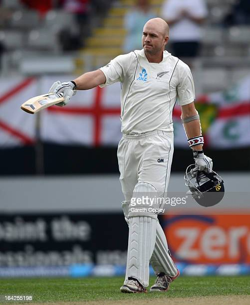 Peter Fulton of New Zealand celebrates reaching his century during day one of the Third Test match between New Zealand and England at Eden Park on...