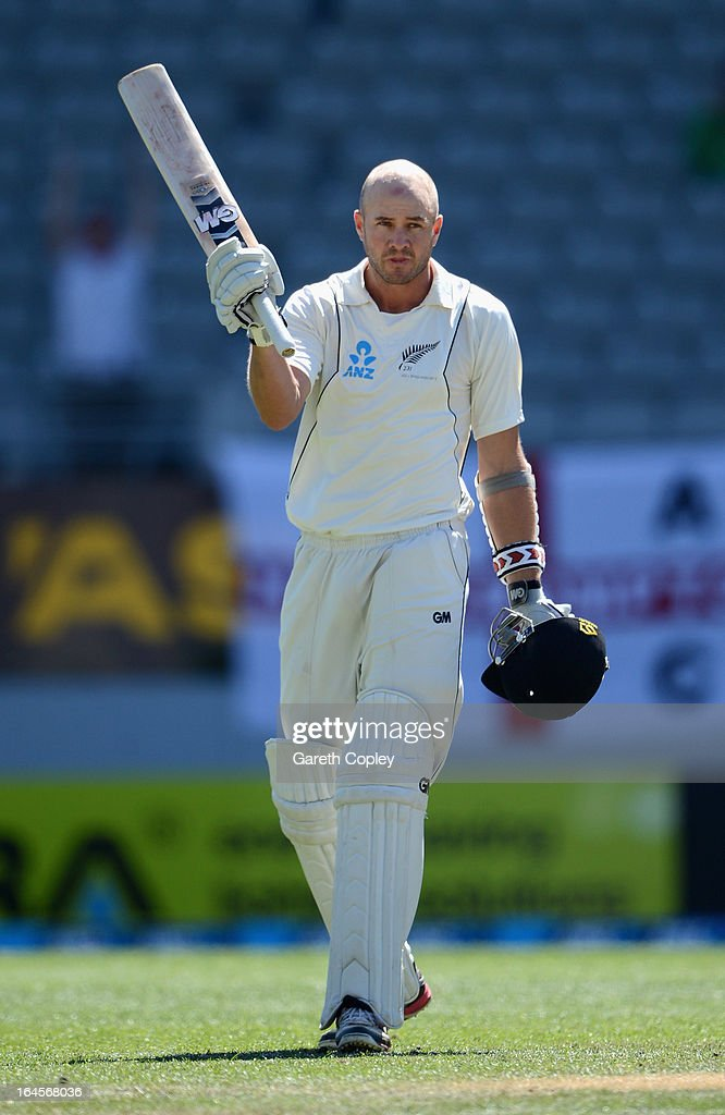 <a gi-track='captionPersonalityLinkClicked' href=/galleries/search?phrase=Peter+Fulton&family=editorial&specificpeople=658568 ng-click='$event.stopPropagation()'>Peter Fulton</a> of New Zealand celebrates reaching his century during day four of the Third Test match between New Zealand and England at Eden Park on March 25, 2013 in Auckland, New Zealand.