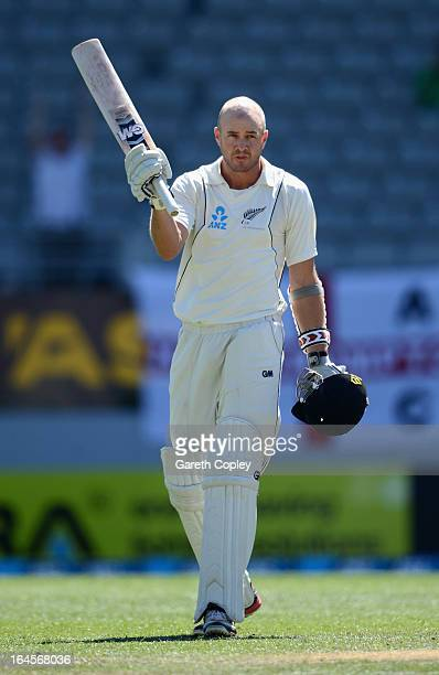 Peter Fulton of New Zealand celebrates reaching his century during day four of the Third Test match between New Zealand and England at Eden Park on...
